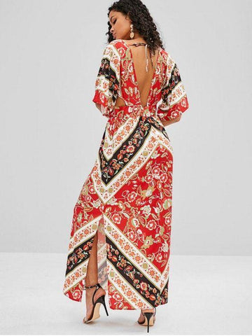 Floral Print Cut Out Kimono Maxi Dress