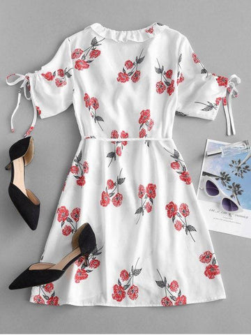 Floral Print Mini Wrap Tea Dress