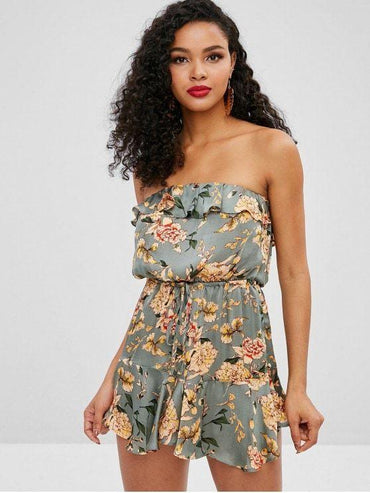 Floral Print Silky Ruffled Bandeau Dress