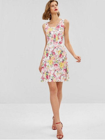 Floral Print Sleeveless Flare Dress