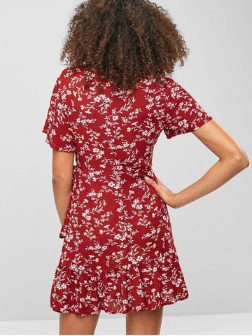 Floral Ruffle Surplice Dress