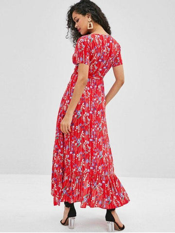 Floral Ruffles Asymmetrical Maxi Dress