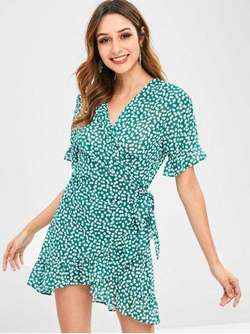 Floral Ruffles Wrap Dress