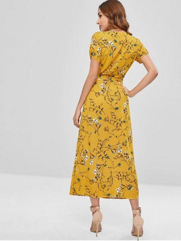 Floral Wrap Dress With Ruched