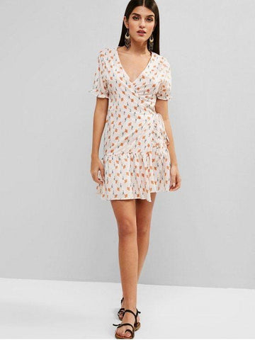 Floral Wrap Ruffles Mini Dress