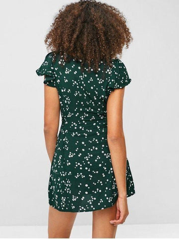 Flower Button Up Cap Sleeve Mini Dress - Deep Green