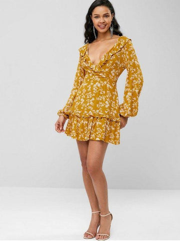 Flower Lace Up Plunging Ruffle Dress