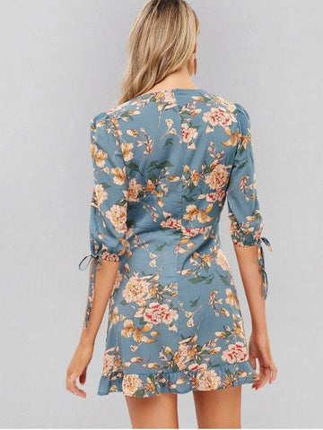 Flower Plunge Mini Flounce Dress