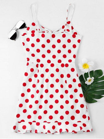 Front Bow Polka Dot Cami Dress
