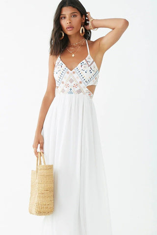 Geo-Embroidered Billowy Halter Dress