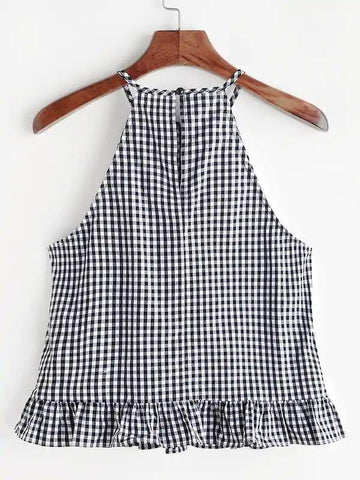 Gingham Buttoned Keyhole Back Frill Halter Top