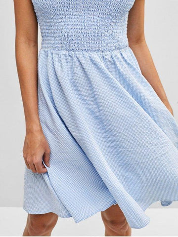Gingham Off Shoulder Smocked Dress