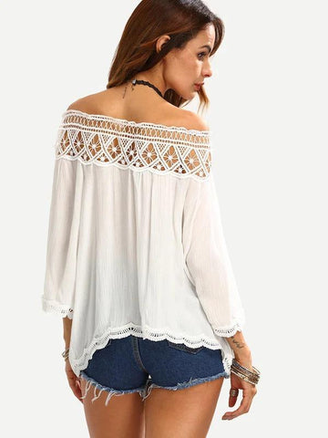 Guipure Lace Trim Bardot Top