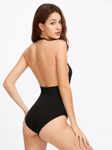Halter Neck Open Back Bodysuit