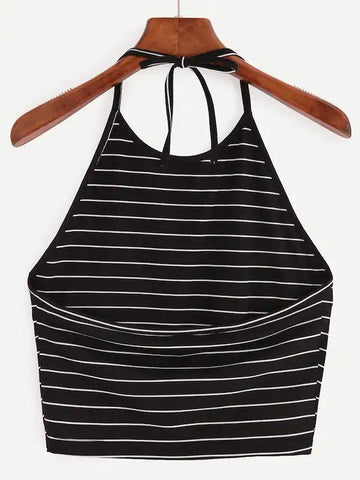 Halter Striped Crop Top