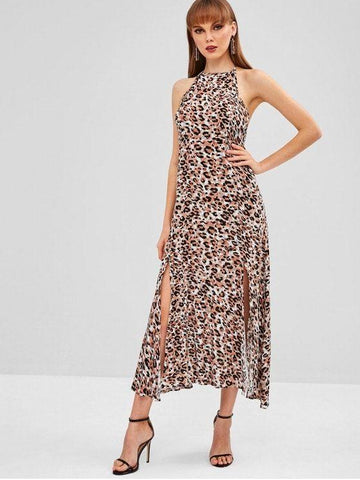 Halter Slit Leopard Backless Dress