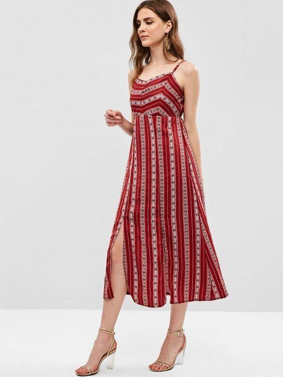 High Waist Slits Printed Bohemian Dress