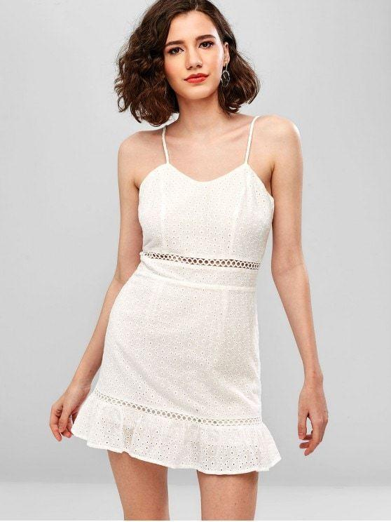 Hollow Out Eyelet Mini Cami Dress
