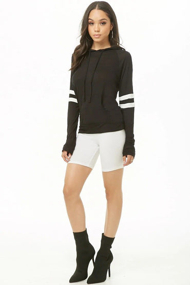 Hooded Varsity-Striped Top