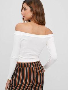Knitted Off Shoulder Crop Tee