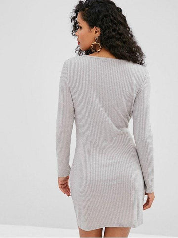 Knitted Ribbed Draped Dress