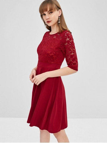 Lace Insert Flare Dress