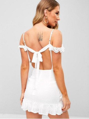Lace Trim Cold Shoulder Ruffle Mini Dress