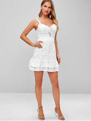 Lace Up Sleeveless Ruffle Mini Dress