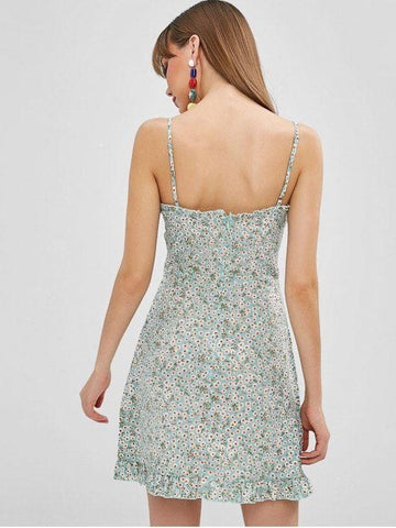 Lace Up Tiny Floral Cami Dress