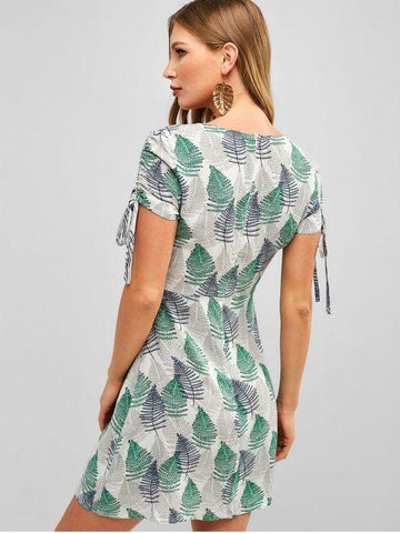 Leaves Print Cinched Mini Dress