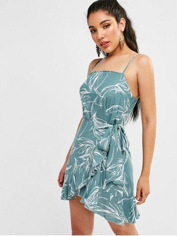 Leaves Print Knotted Ruffles Dress