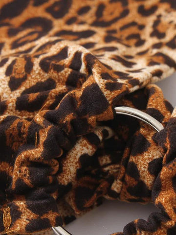 Leopard Ring Detail Knot Hem Halter Top