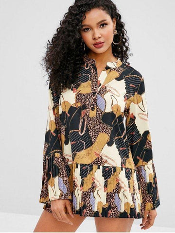 Leopard Half Button Pleated Bell Sleeve Dress