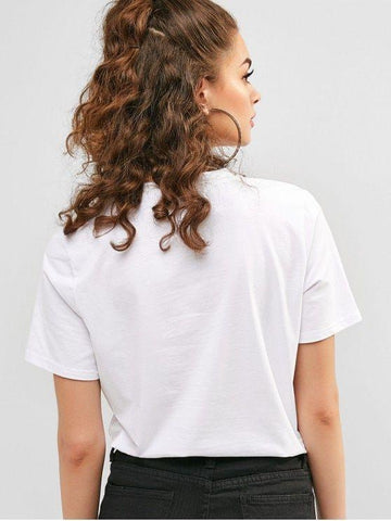 Cotton Letter Graphic Casual Short Sleeves Tee