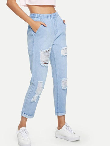 Light Wash Cuffed Leg Ripped Jeans