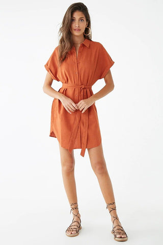 Linen-Blend Mini Shirt Dress