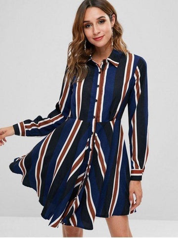 Long Sleeve Stripe Shirt Dress