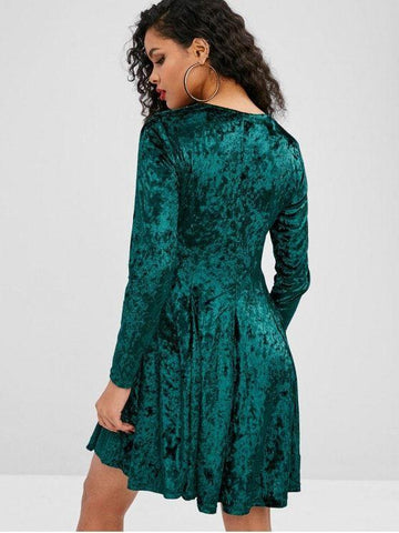 Long Sleeve Velvet A Line Dress