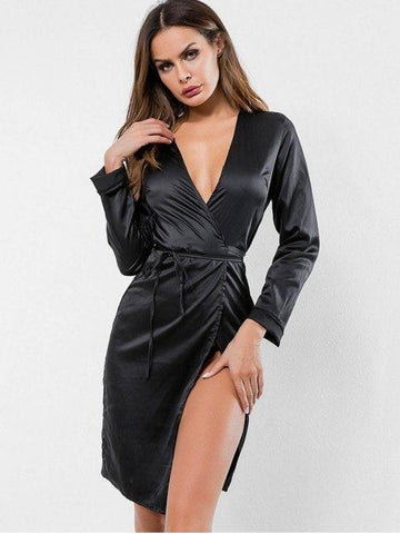 Long Sleeves Satin Wrap Dress