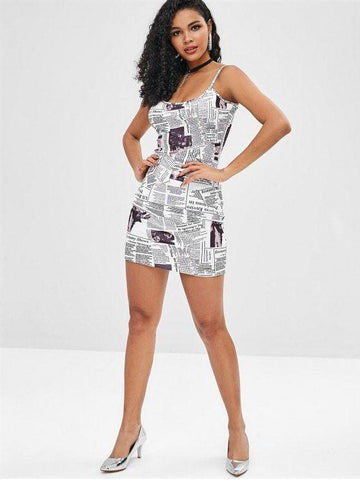 Newspaper Print Cami Dress