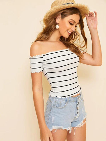 Off Shoulder Striped Fitted Top