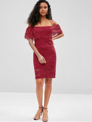 Off Shoulder Flounce Lace Bodycon Dress