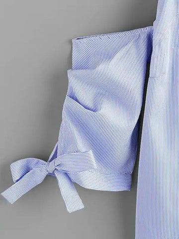 Open Shoulder Bow Tie Sleeve Pinstripe Blouse