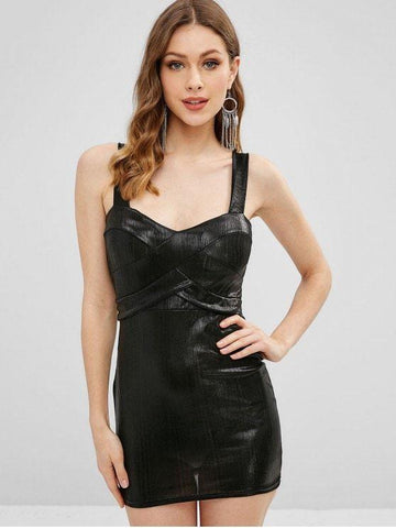 Padded Shiny Sheath Dress