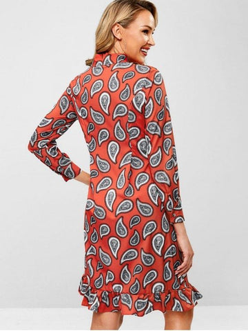 Paisley Bow Tie Neck Ruffle Dress