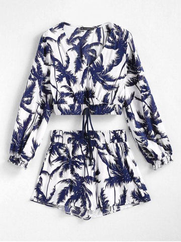 Palm Tree Print Crop Top and Shorts Set