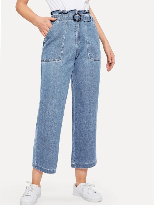Paperbag Waist Ring Belted Wide Leg Jeans