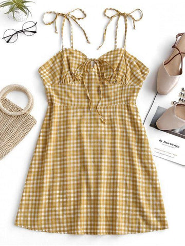 Plaid Tie Shoulder Mini Dress