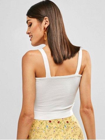Cotton Plain Knitted Cropped Tank Top