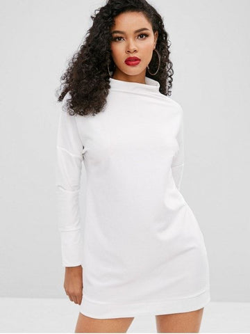 Plain Long Sleeve Casual Dress
